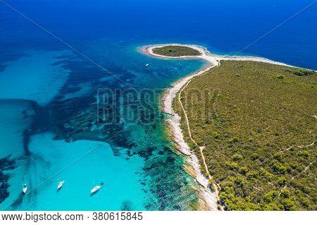 Croatia, Adriatic Seascape, Rocky Cape  Lopata And Sakatun Bay In Turquoise Sea, Island Of Dugi Otok