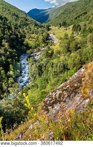 Scenics With River Along The National Scenic Route Aurlandsfjellet Between Aurland And Laerdal In No