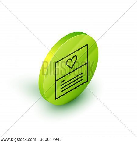Isometric Line Greeting Card Icon Isolated On White Background. Celebration Poster Template For Invi