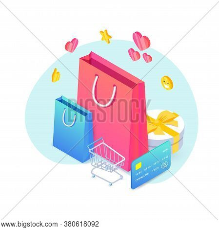 Shopping Isometric Concept. Black Friday Sale Design With 3d Shopping Cart, Shopping Bags, Gift And