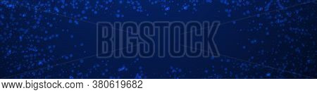 Magic Stars Christmas Background. Subtle Flying Snow Flakes And Stars On Dark Blue Background. Capti