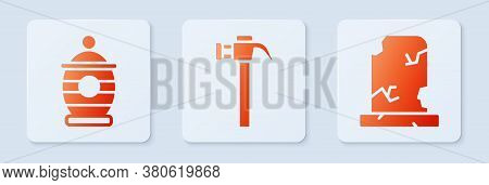 Set Hammer, Funeral Urn And Old Grave With Tombstone. White Square Button. Vector