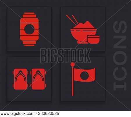 Set National Flag Of Japan On Pole, Japanese Paper Lantern, Rice In A Bowl With Chopstick And Geta T