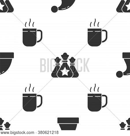 Set Christmas Santa Claus Hat, Santa Claus Bag Gift And Coffee Cup On Seamless Pattern. Vector