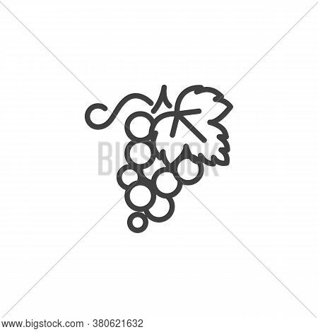 Grapes Bunch Line Icon. Linear Style Sign For Mobile Concept And Web Design. Grapes With Leaf Outlin