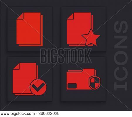 Set Document Folder Protection, Document, Document With Star And Document And Check Mark Icon. Vecto