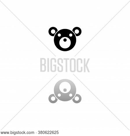 Teddy Bear. Black Symbol On White Background. Simple Illustration. Flat Vector Icon. Mirror Reflecti
