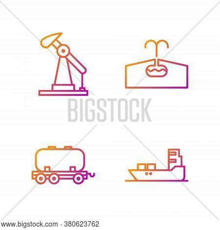 Set Line Oil Tanker Ship, Oil Railway Cistern, Oil Pump Or Pump Jack And Oilfield. Gradient Color Ic