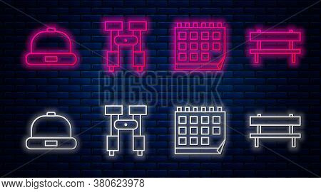 Set Line Binoculars, Calendar, Beanie Hat And Bench. Glowing Neon Icon On Brick Wall. Vector