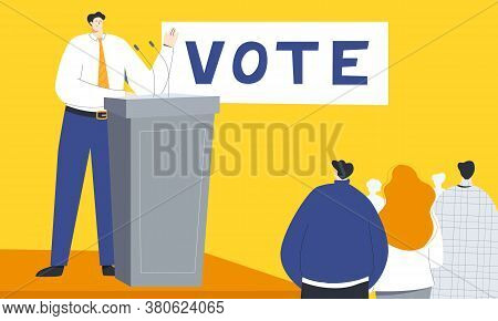 Political Meeting Colorful Vector Illustration With Male Politician Standing Behind The Tribune, Dis