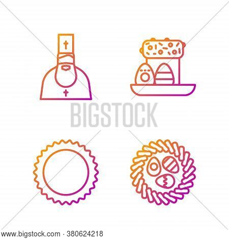 Set Line Easter Egg In A Wicker Nest, Sun, Priest And Easter Cake And Eggs. Gradient Color Icons. Ve