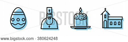 Set Line Easter Cake And Candle, Easter Egg, Priest And Church Building Icon. Vector