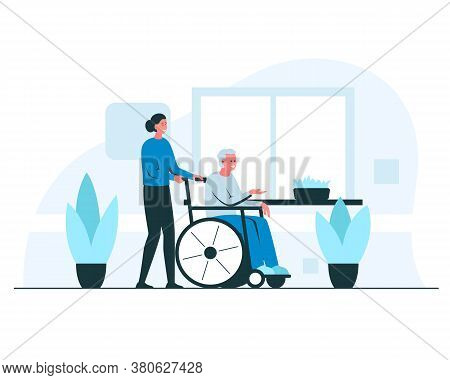 Nurse Pushing An Elderly Man In A Wheelchair. Vector Concept Illustration Of Young Smiling Female Nu