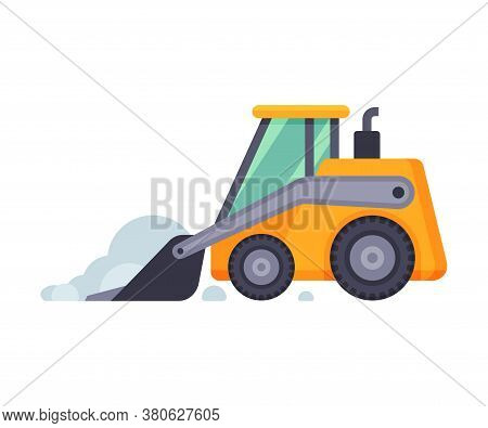 Compact Snow Plow Excavator, Winter Snow Removal Machine, Cleaning Road Snowblower Vehicle Vector Il