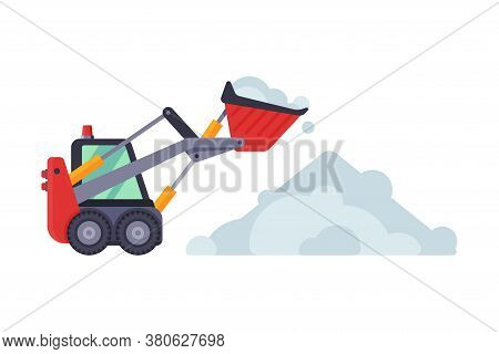 Compact Snow Plow Excavator, Removal Machine, Cleaning Road Snowblower Vehicle Vector Illustration