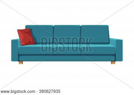 Comfortable Sofa, Cushioned Cozy Domestic Or Office Furniture With Blue Upholstery, Modern Interior