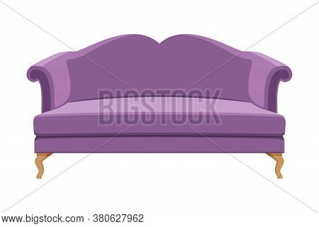 Comfortable Sofa, Cushioned Cozy Domestic Or Office Furniture With Lilac Upholstery, Retro Interior