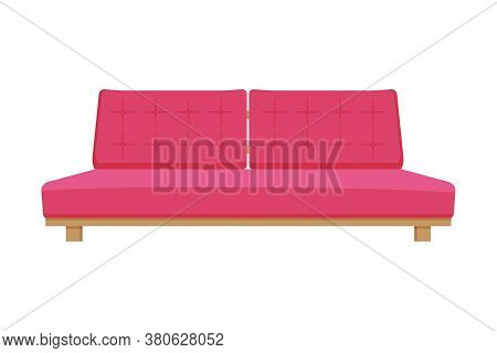Comfortable Sofa, Cushioned Cozy Domestic Or Office Furniture With Pink Upholstery, Modern Interior
