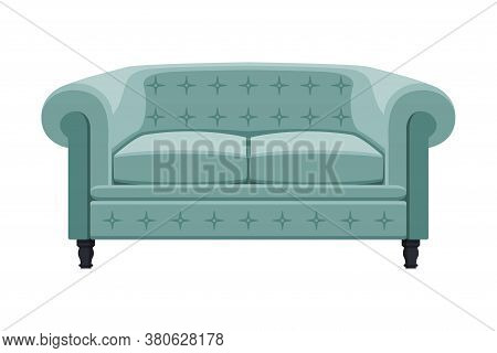 Comfortable Sofa, Cushioned Cozy Domestic Or Office Furniture With Turquoise Upholstery, Retro Inter