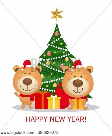 Vector Christmas And New Year Greeting Card With Christmas Tree And Decorations, Gift Boxes And Cute