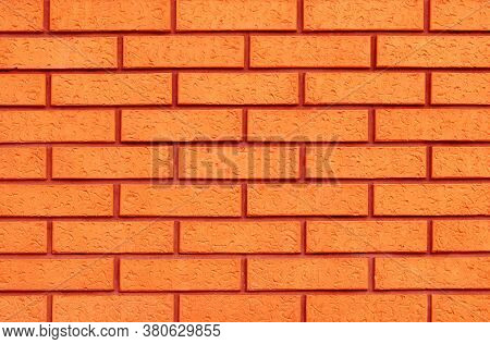 Reliable Brick Wall. Strong Brickwork. Protective Structure. Orange Brickwall Texture.