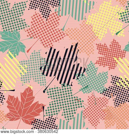 Abstract Seamless Pattern With Maple Leaves. Graphic Design Of Autumn Maple Leaves. Wrapping. Flat V