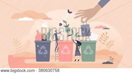 Sorting Garbage Containers To Separate Waste And Trash Tiny Persons Concept. Environmental Ecologica