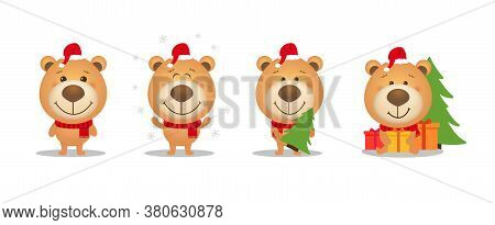 Set Of Cute Cartoon Christmas Teddy Bear. Funny Animal