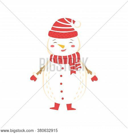 Snowman Wear Warm Hat, Scarf And Mittens. Vector Illustration On White Background, Isolated Snowman