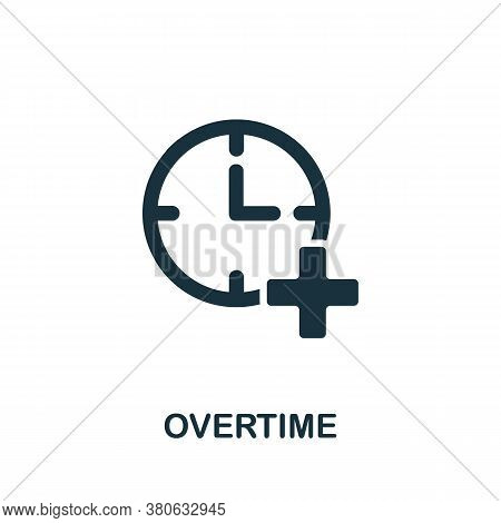 Overtime Icon. Simple Element From Time Management Collection. Creative Overtime Icon For Web Design