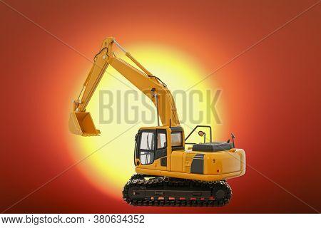 Excavators Loader  On The Sun Large Size Background