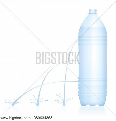 Plastic Bottle With Different Water Jets - Weak, Medium And Strong Stream. Physical Experiment Conce