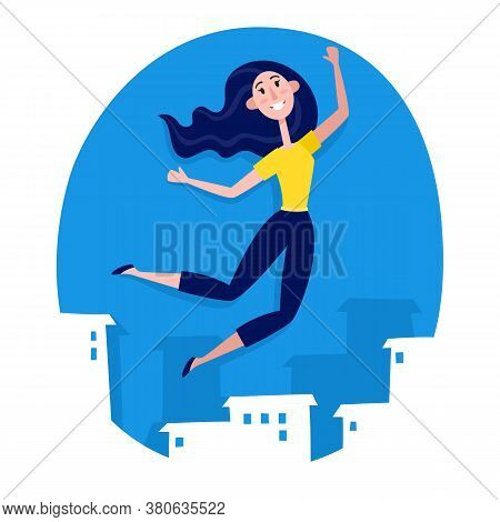 Paper Style Young Woman Jumping On Blue With City View.