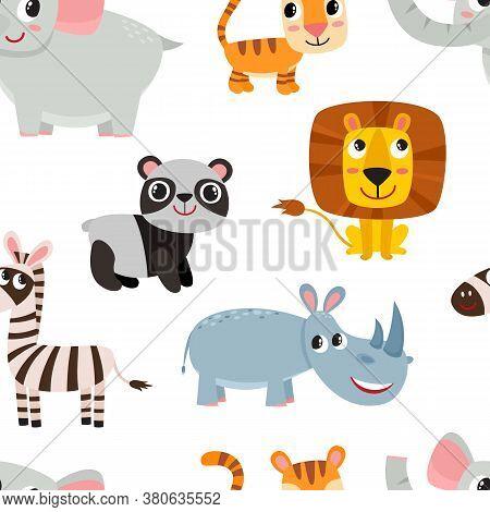 Cute Cartoon Animals Pattern Isolated On White.