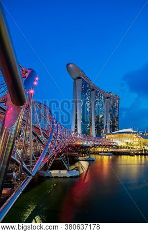 SINGAPORE CITY, SINGAPORE - JULY 16 2020: Marina Bay Sands at night the largest hotel in Asia. It opened on 27 April 2010.