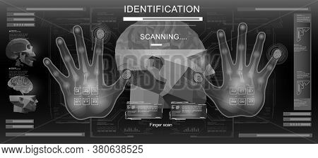 Biometric Identification Or Recognition System Of Person. Holographic Digital Hand And Fingerprint S
