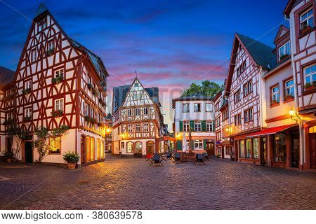 Mainz, Germany. Cityscape Image Of Mainz Old Town During Twilight Blue Hour.