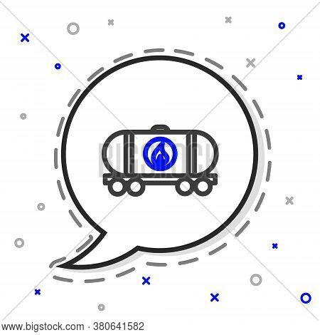 Line Oil Railway Cistern Icon Isolated On White Background. Train Oil Tank On Railway Car. Rail Frei