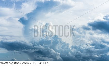 Dramatic Sky With Stormy Clouds. Blue Dramatic Clouds