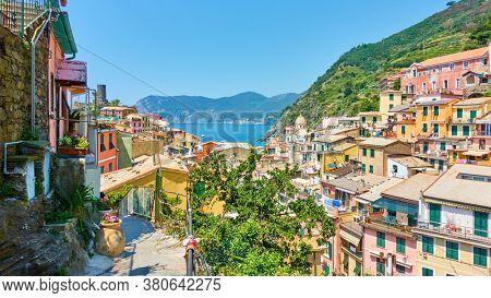 Panoramic view of Vernazza small seaside town in Cinque Terre, La Spezia, Italy. Italian lansdcape
