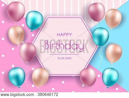 Birthday banner with realistic balloons. Happy Birthday . Happy Birthday background . Happy Birthday banner . Happy Birthday design . Happy Birthday design . Happy Birthday image . Happy Birthday template . Abstract colorful birthday background design