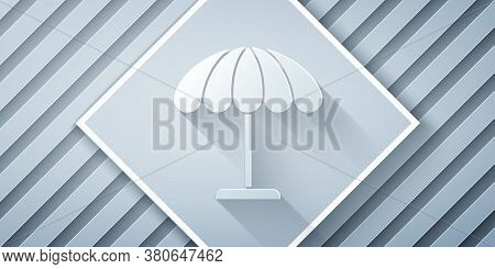 Paper Cut Sun Protective Umbrella For Beach Icon Isolated On Grey Background. Large Parasol For Outd