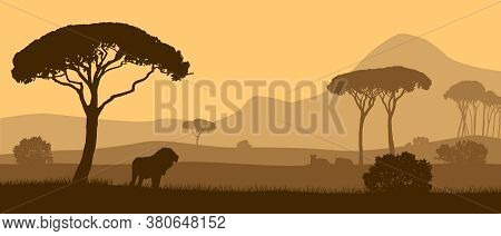 Beautiful Vector Landscape Of African Savannah With Animals During Sunset.