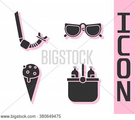 Set Cooler Bag And Water, Snorkel, Ice Cream In Waffle Cone And Glasses Icon. Vector
