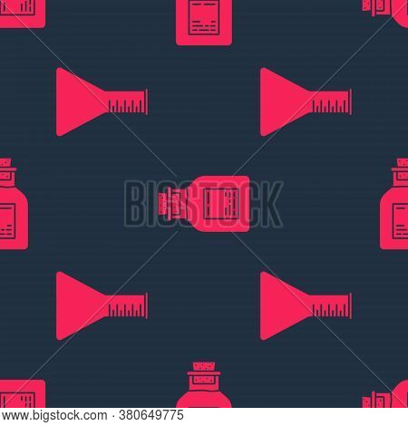Set Oil Petrol Test Tube And Oil Petrol Test Tube On Seamless Pattern. Vector