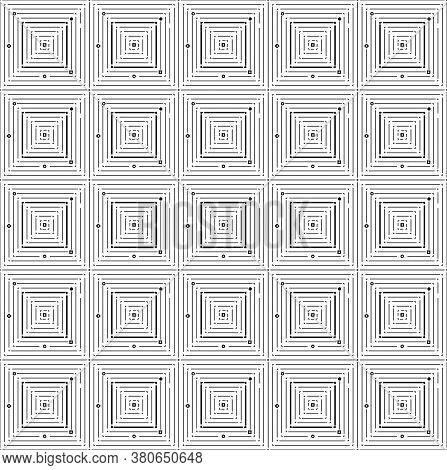 Thin Black Square Seamless Pattern. Geometry Simple Square In Square Vector Pattern For Male Clothes