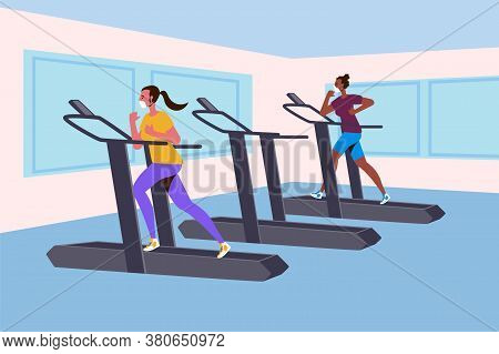 New Normal Concept And Physical Distancing People Running In Fitness And Keep Social Distance To Pre