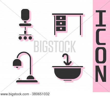 Set Washbasin With Water Tap, Office Chair, Table Lamp And Office Desk Icon. Vector