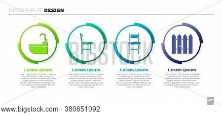 Set Washbasin With Water Tap, Chair, Chair And Garden Fence Wooden. Business Infographic Template. V