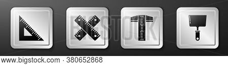 Set Triangular Ruler, Crossed Ruler, T-square Line And Putty Knife Icon. Silver Square Button. Vecto